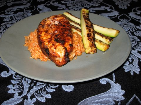 Pork Chops with Adobo Paste, Spanish Pilaf?, and Grilled Zucchini ...