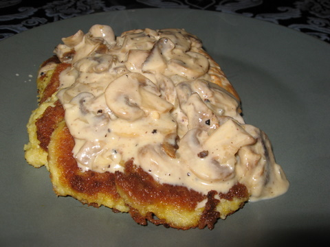 Chicken with a Brandy Mushroom Cream Sauce on Fried Polenta | Busy ...