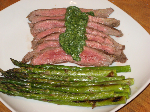 Pan Seared Flank Steak with Chimichurri Sauce | Busy Nothings